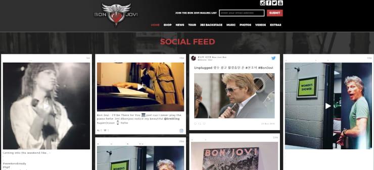 Bon Jovi social media feed