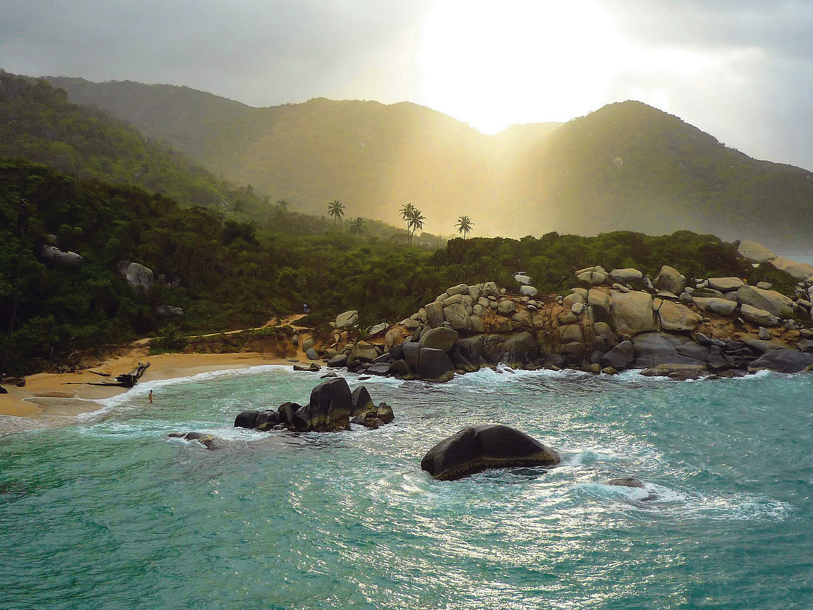 Tayrona Colombia sunset on the beach