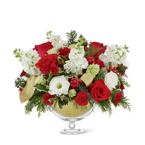 Christmas flowers gift delivery red roses and white gladiolus bouquet