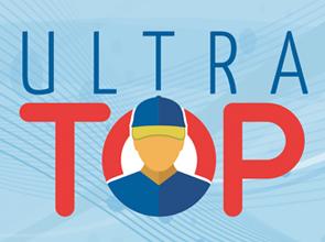 """Ilustração de fundo azul escrito """"Ultra Top"""" nas corez azul escuro e vermelho, com ilustração de um funcionário da Ultragaz com uniforme nas cores azul, amarela e vermelha na frente do escrito."""