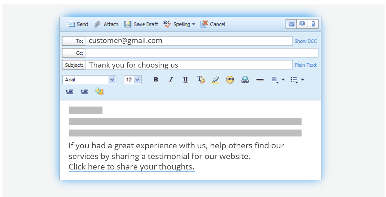Follow up with your customers via email