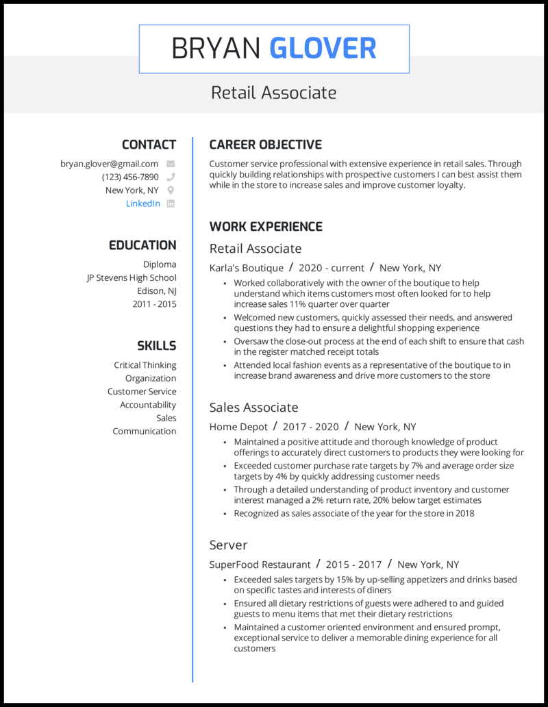 Retail resume with 4+ years of experience