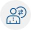 Ícone representando uma pessoa com setas atrás da cabeça na horizontal