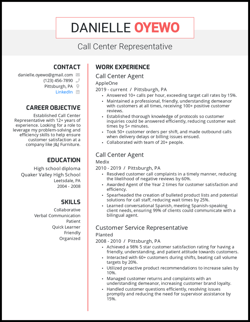 Call center representative with 12+ years of experience