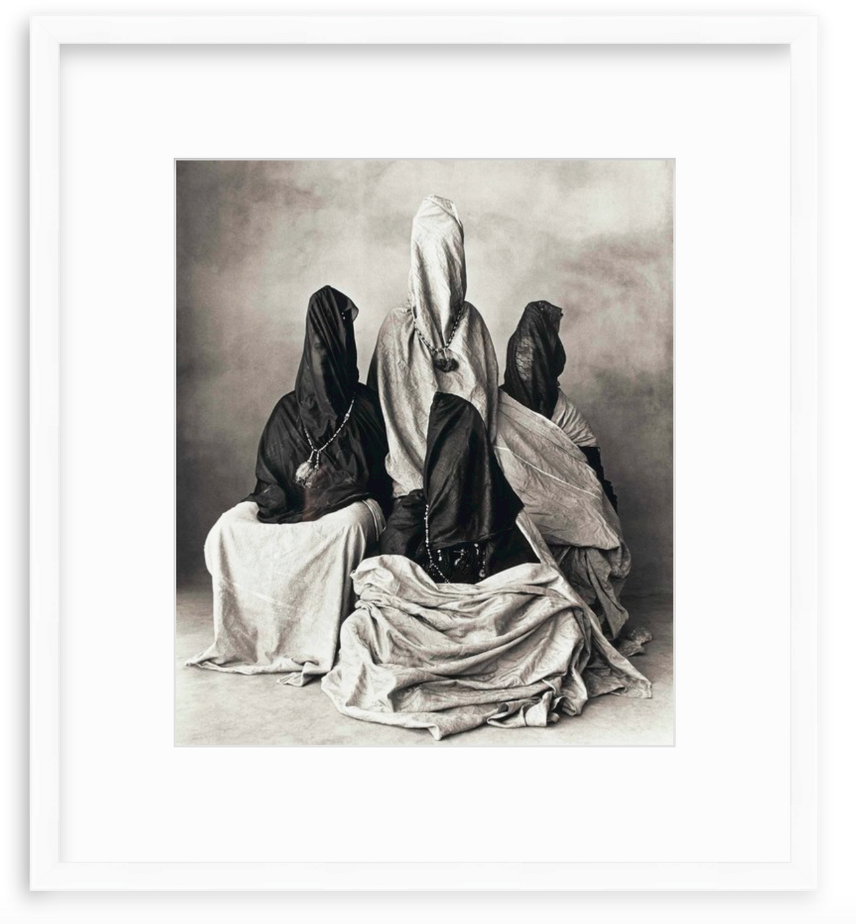 Irving Penn black and white photo in white frame