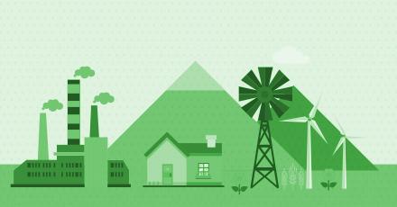 Ilustração toda em tons de verde de uma casa ao centro, uma indústria ao lado esquerdo e hélices eólicas ao lado direito.