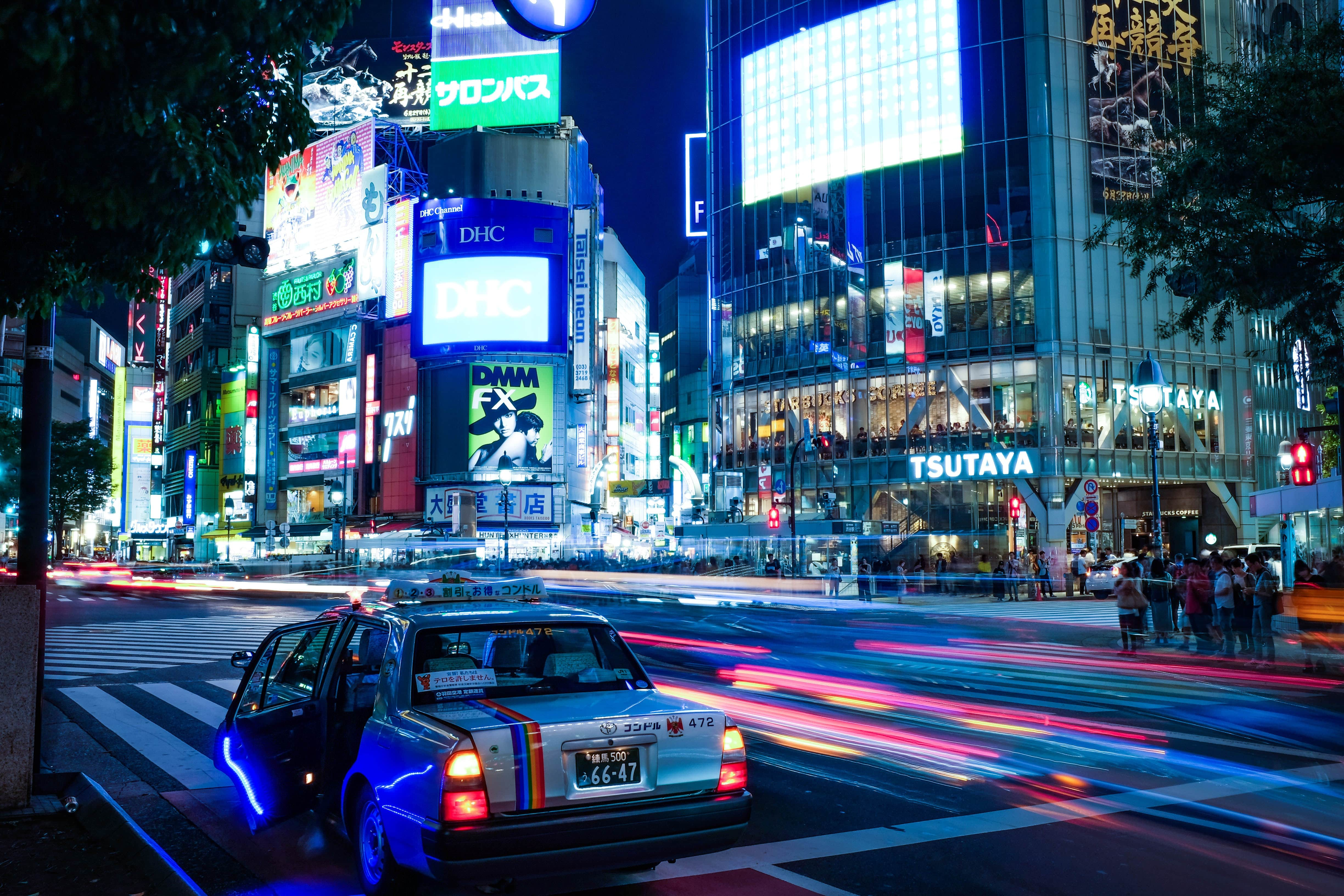 Cars in the streets at night in Japan
