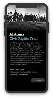 The Alabama Tourism Department Civil Rights Trail app screenshot on an iPhone