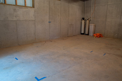 The unfinished basement that would soon house an Endless Pools swimming machine