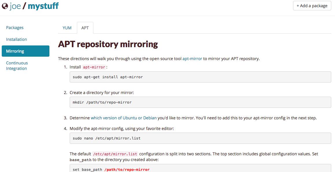 Mirroing tab - APT Repository Mirroring packagecloud.io