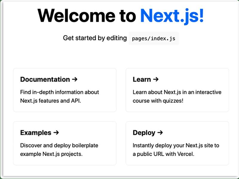 Next.js Welcome Screen