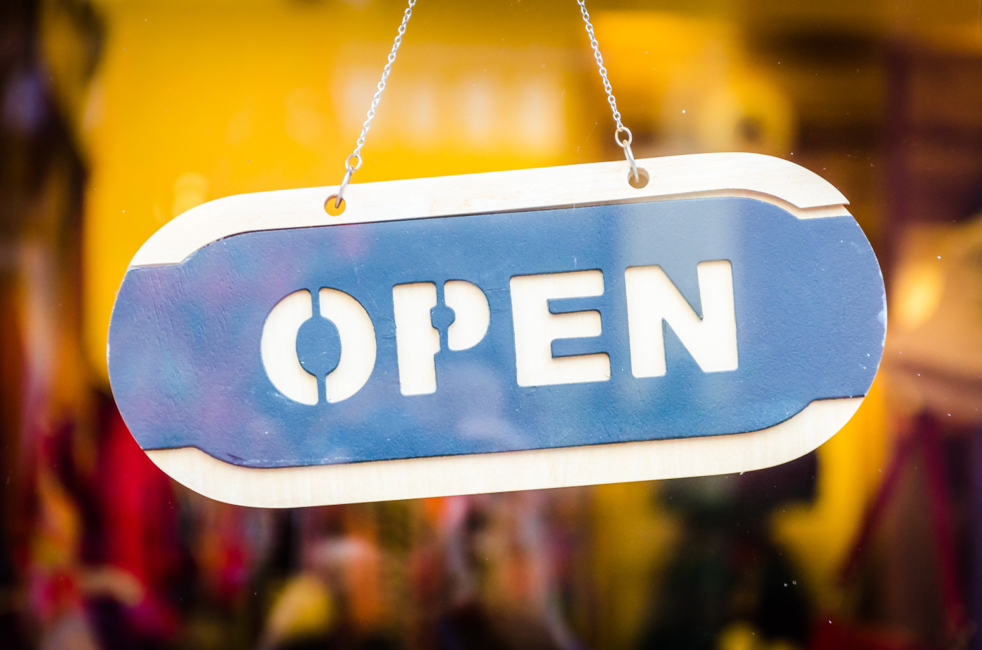 open sign at storefront