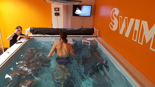 Ultrarunner Mike Wardian training in the Endless Pool at SwimBox in Fairfax, Virginia