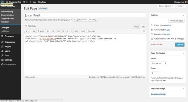 Add Juicer embed code