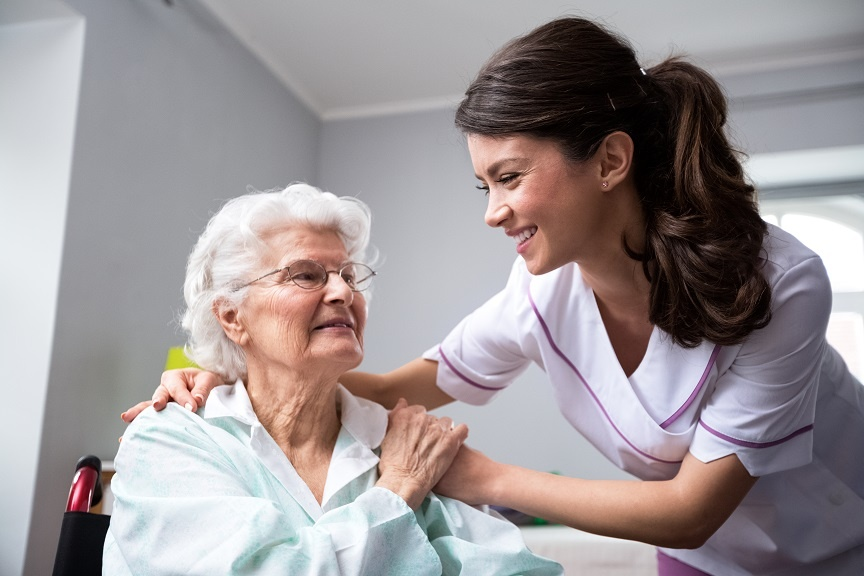 elderly woman receiving short term medical care at skilled nursing facility-inpatient rehabilitation center