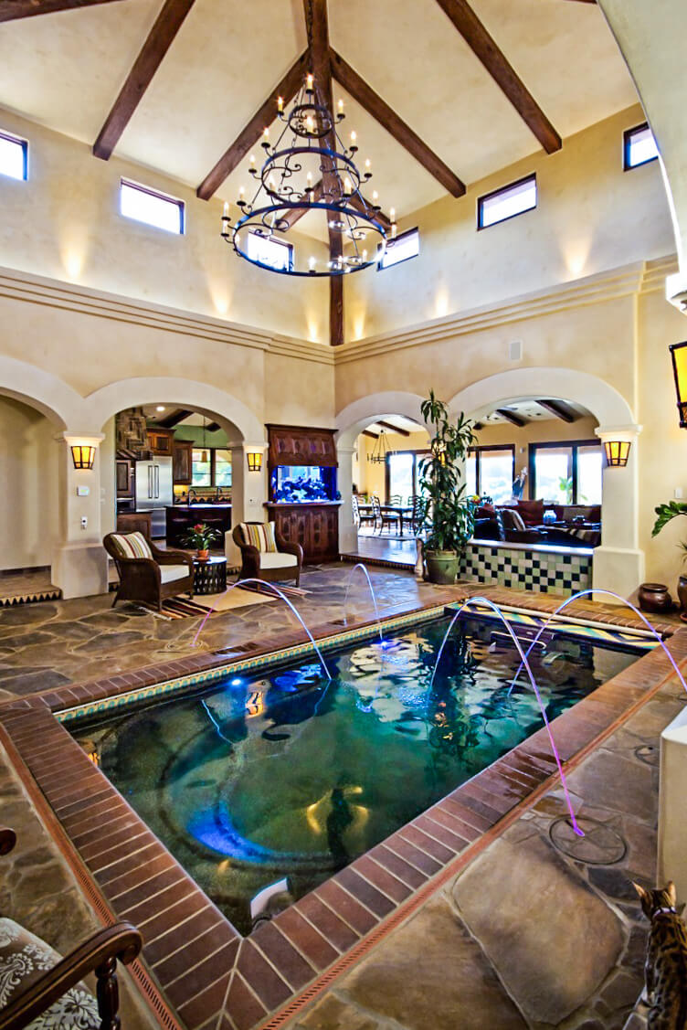 an indoor pool with an Endless Pools Fastlane in California wine country
