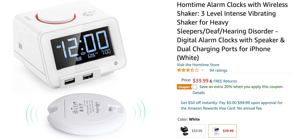 Homtime Loud Alarm Clock with Wireless Bed Shaker