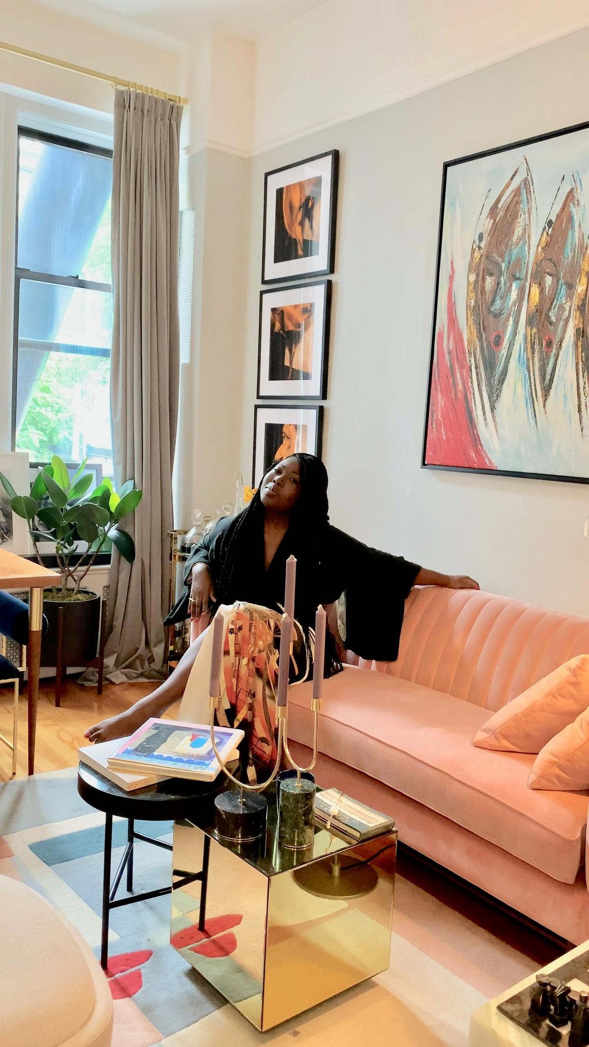 Natasha Nyanin in her apartment living room in Brooklyn