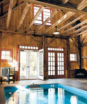 An Endless Pool in a barn renovated on This Old House
