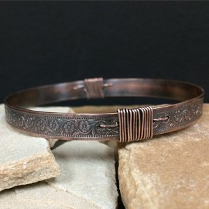 Wire wrapped copper bangle by Erica Stice
