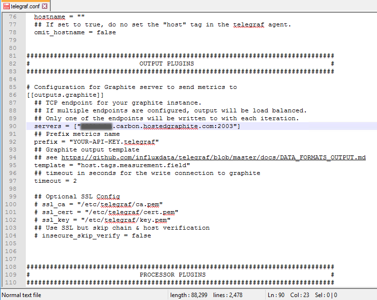 The graphite output section of the telegraf configuration file