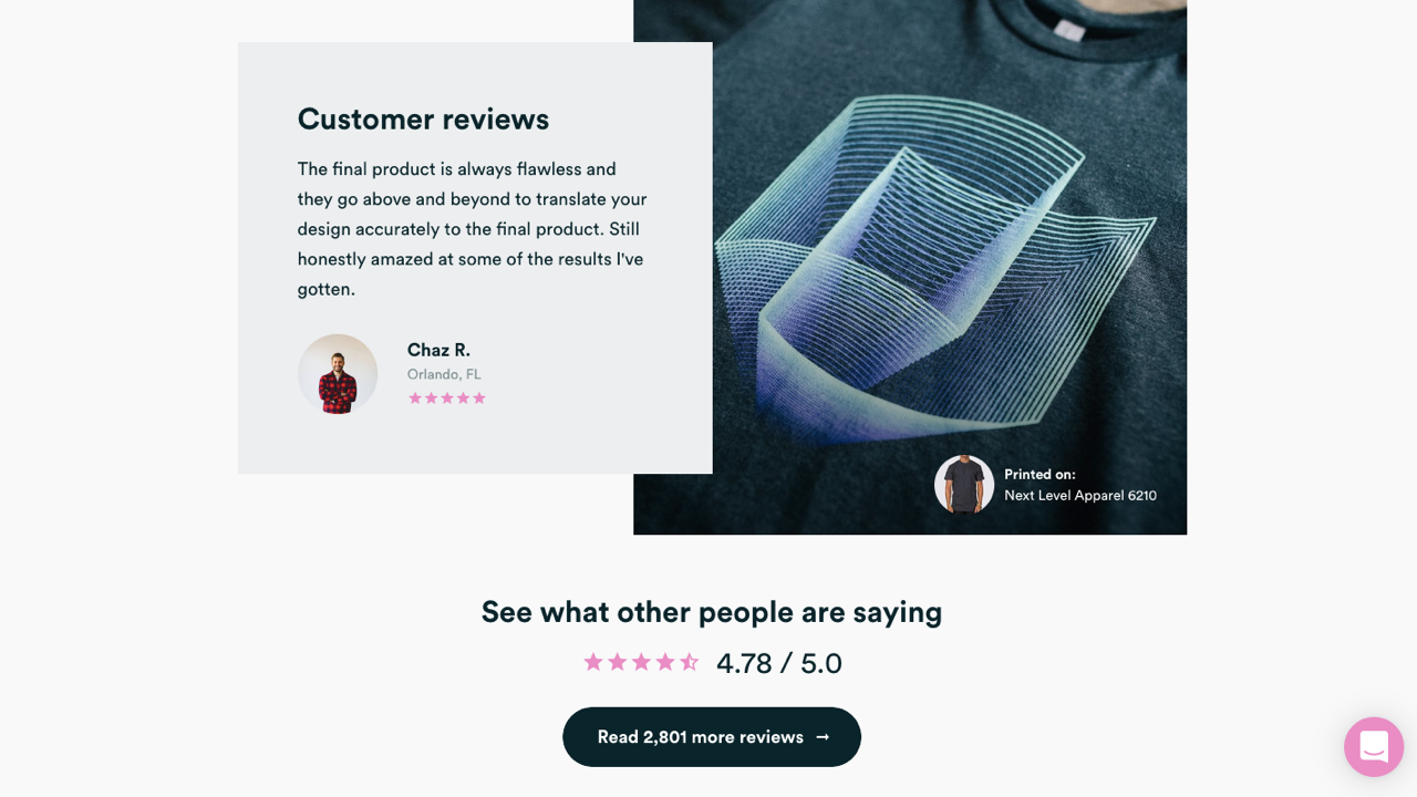 Real Thread's website shows how a screen print shop can leverage reviews.