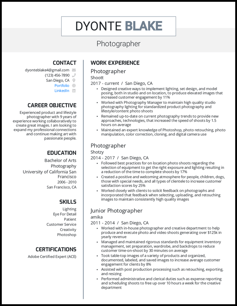 Photographer resume with 9 years of experience