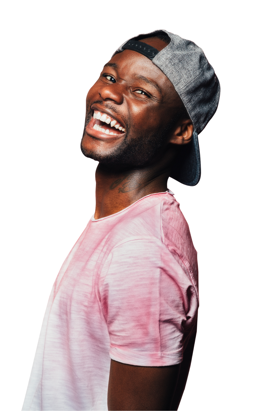 Guy with a cap on laughing