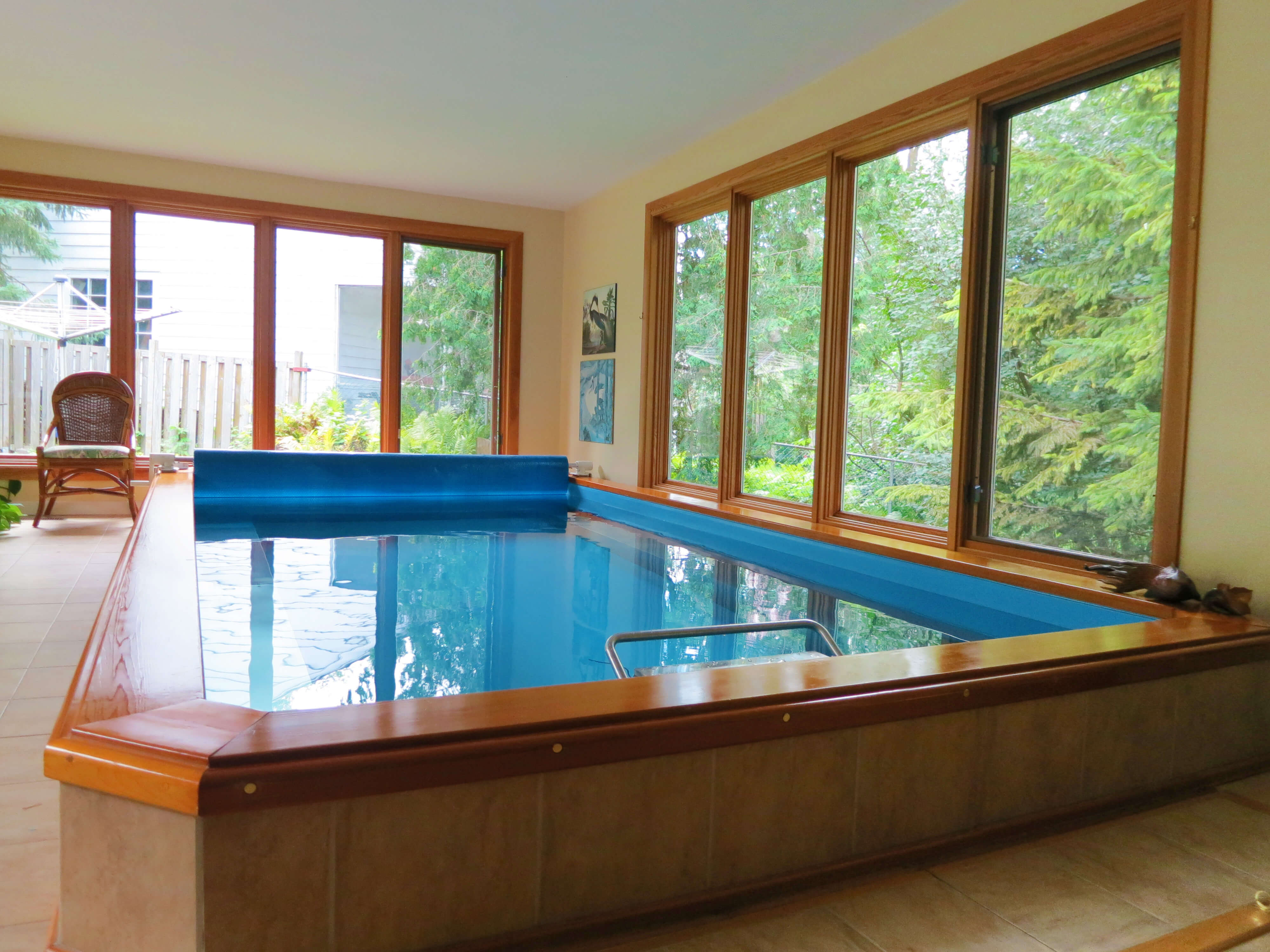 The indoor Original Endless Pool that replaced the traditional outdoor pool in this Ottawa home