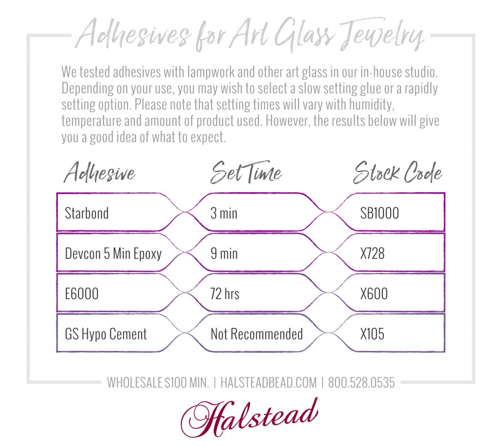 Infographic: Adhesives for Art Glass Jewelry