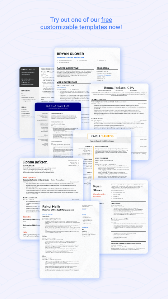Samples of resume templates to download and edit