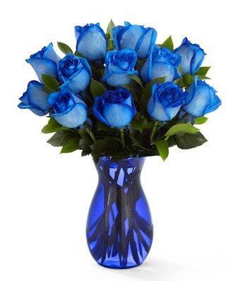 Blue Roses in Blue Vase