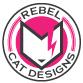 Shrunk down Rebel Cat Designs emblem logo