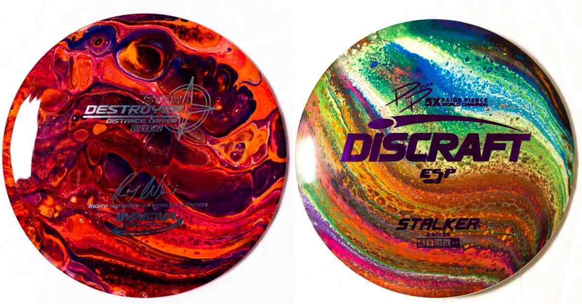 Disc golf discs with vibrant colors and interesting, abstract patterns