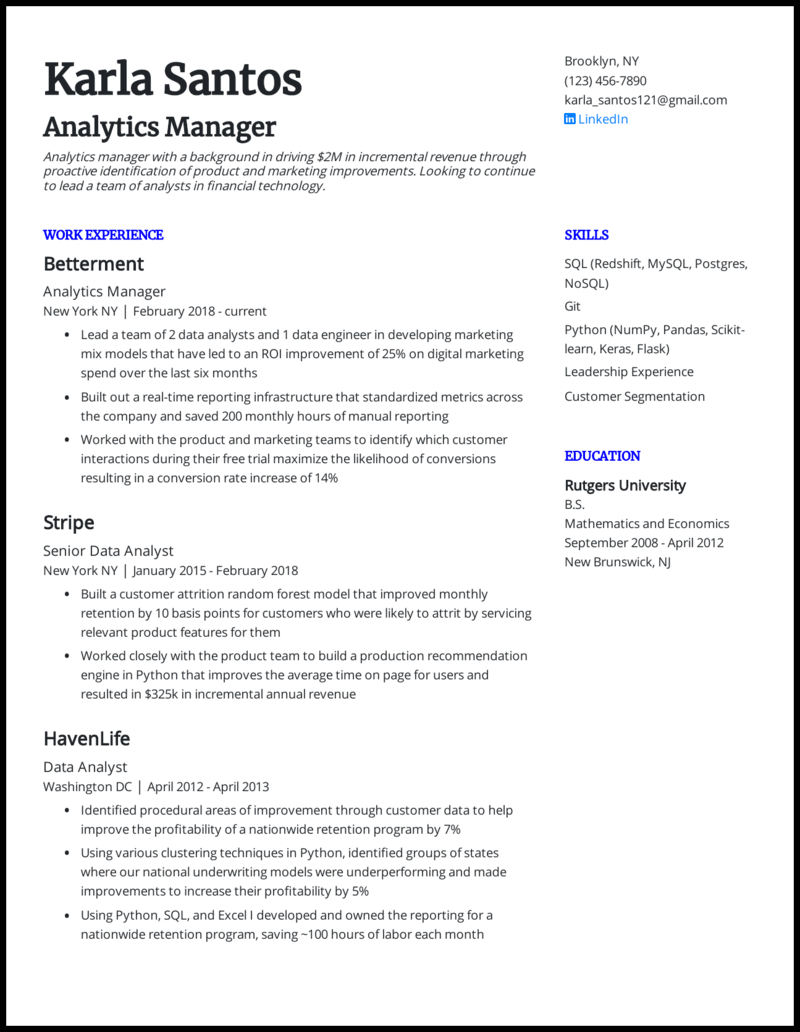5 Data Analyst Resume Examples For 2021