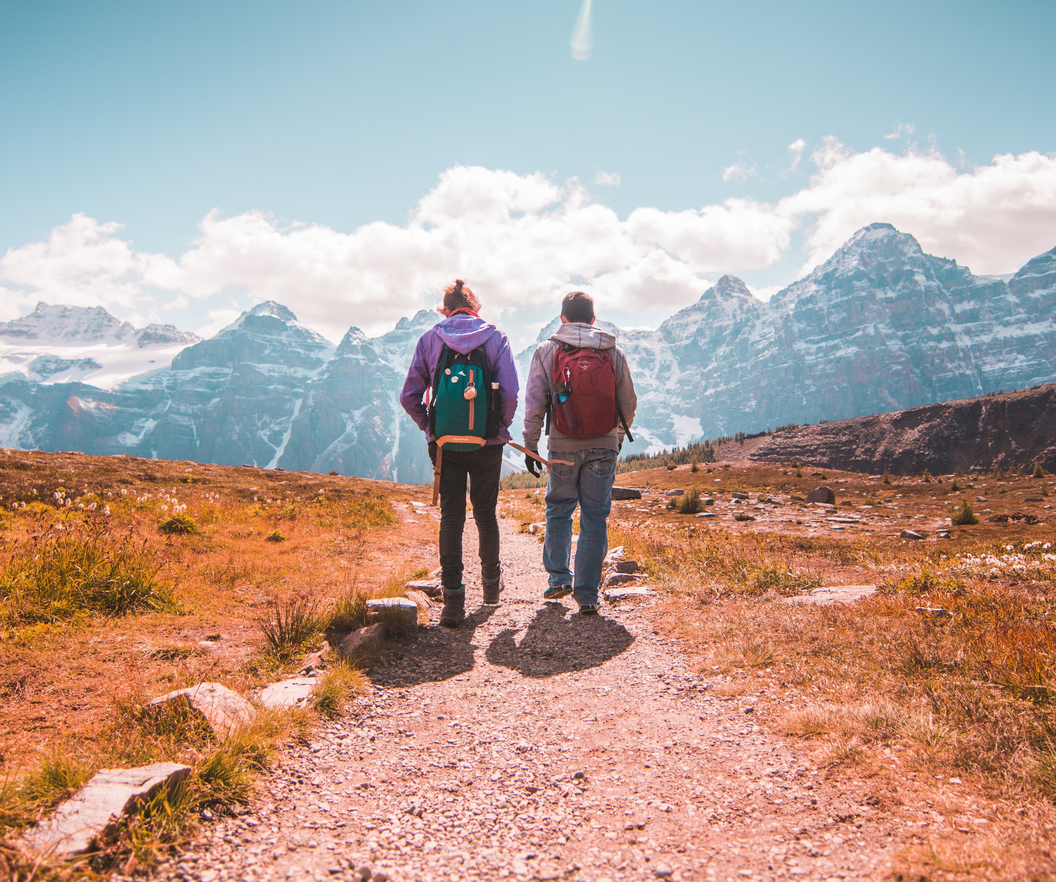 Two men hiking in mountains
