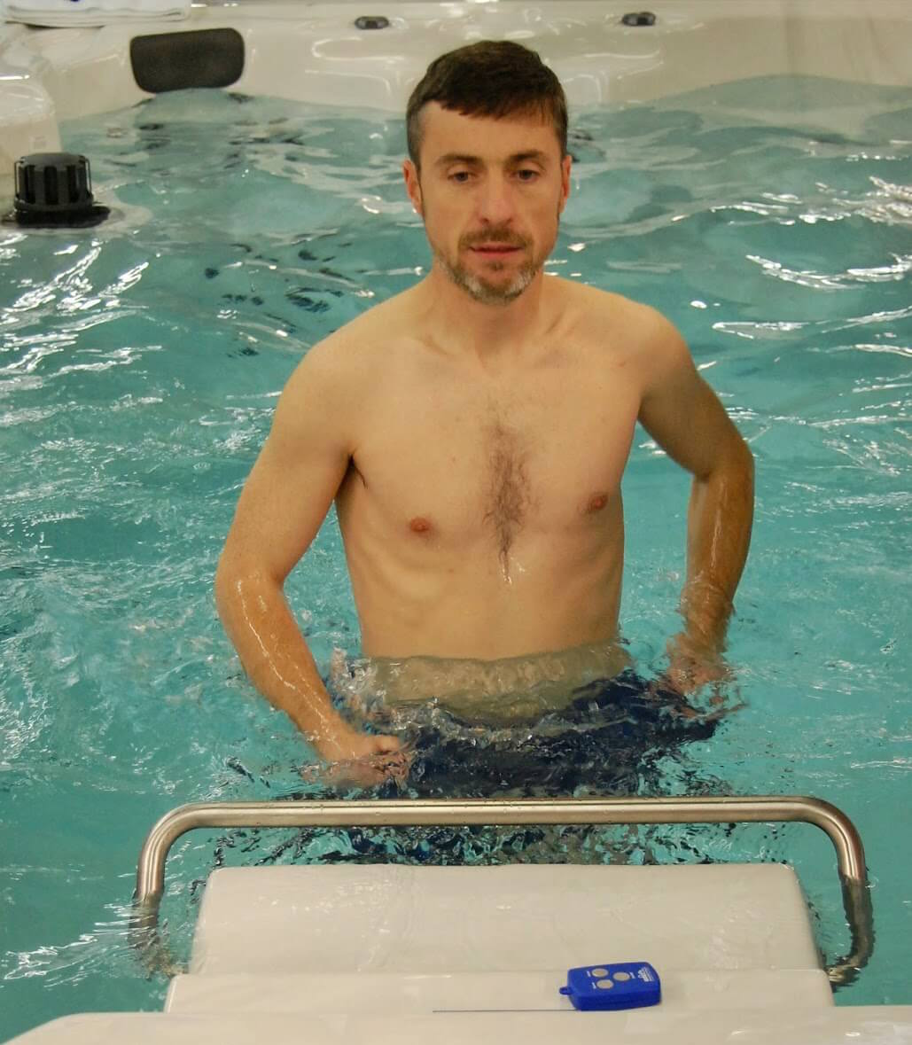 Mark Langan training for the Boston Marathon on the Endless Pools Underwater Treadmill