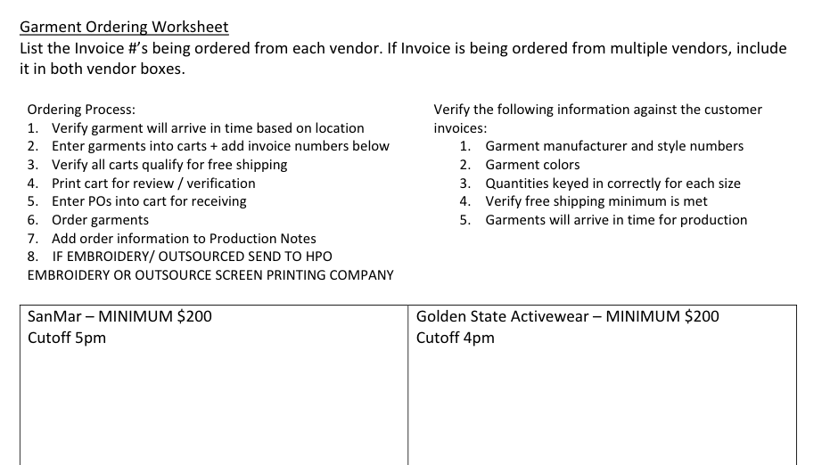 Garment ordering worksheet to help with procuring garments for screen printing