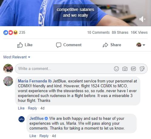 JetBlue social media response