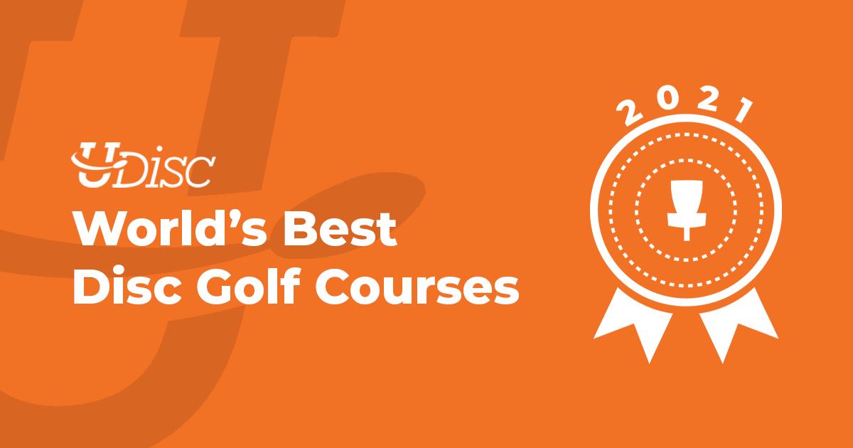 """White text saying  """"UDisc World's Best Courses"""" on orange background"""