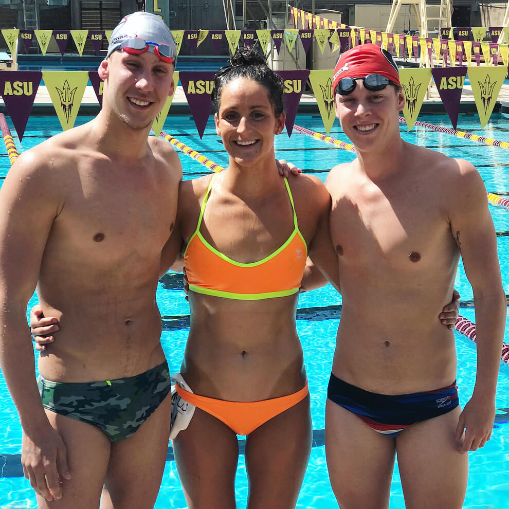 Swimmers Chase Kalisz, Leah Smith, and Pace Clark at the TYR Pro Swim Series in Mesa