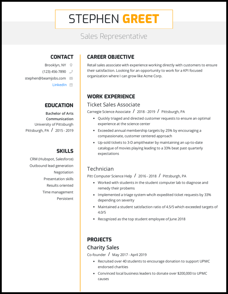 sample resume sales position objectives