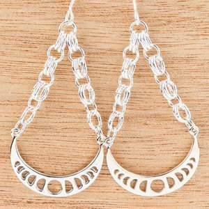 Chainmaille Moon Cycle Earrings by Erica Stice