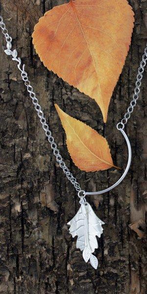 Asymmetrical leaf necklace