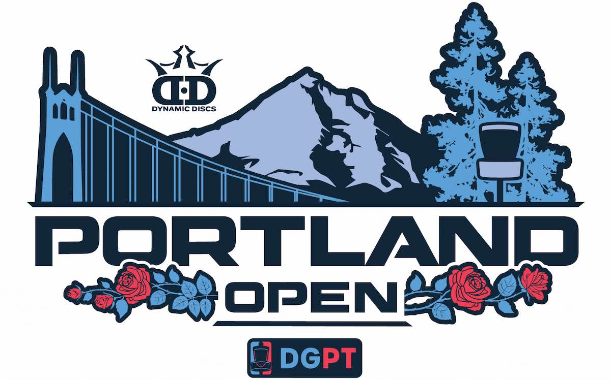 """The text """"Portland Open"""" featured prominently in front of animations of a bridge, mountain, and tree"""