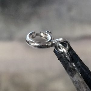 Close-up of a spring ring on a third hand