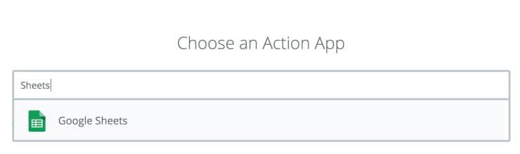 Zapier choose the automation action app