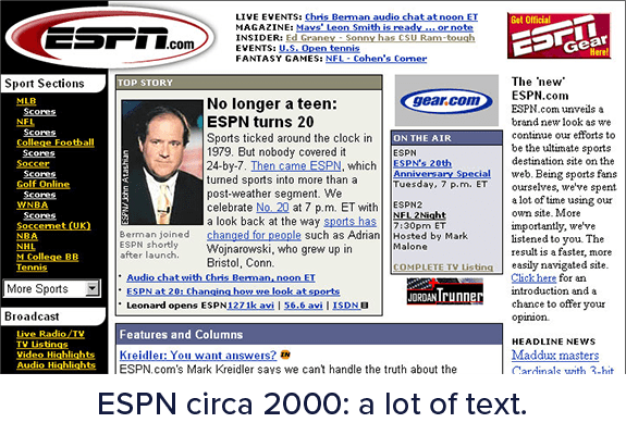 Caching strategies: ESPN 2000, a lot of text.