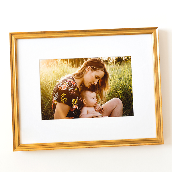 Baby & Mom photo in thin gold Richmond frame