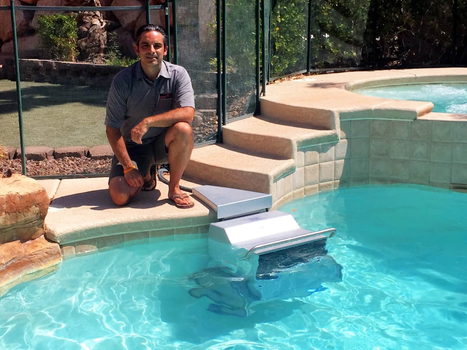 Rod S with the Endless Pools Fastlane he uses for Ironman triathlon training
